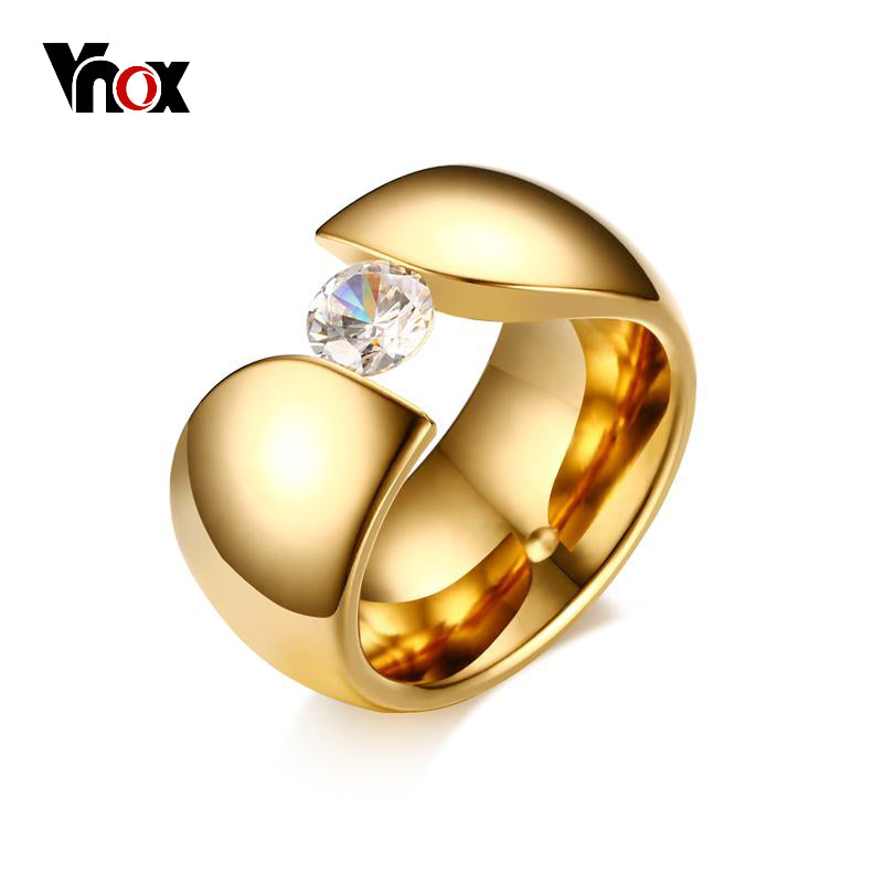 sampurchase Vnox Luxury Solitaire AAA CZ Ring for Women Gold color Stainless Steel Engagement Anniversary Wide Chunky Female Wedding Jewelry