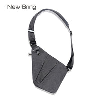 sampurchase NewBring Summer Black Single Shoulder Bags for Men Waterproof Nylon Crossbody bags Male Chest Bag
