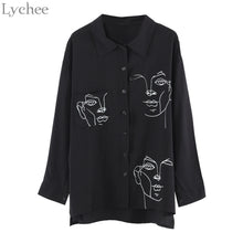sampurchase Lychee Spring Autumn Women Blouse Face Print Casual Loose Long Sleeve Shirt Vintage Brlusa Tops