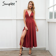sampurchase Simplee Sexy v neck backless print jumpsuit romper women Lace up halter high waist short overalls Split wide leg summer jumpsuit