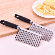 sampurchase Kitchen Cooking Tool Stainless Steel Vegetable Fruit Wavy Cutter Potato Cucumber Carrot Waves Cutting Slicer