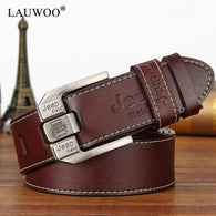 sampurchase LAUWOO fashion mens casual genuine leather belt High quality cowhide retro buckle belt new design Brown Belts free shipping