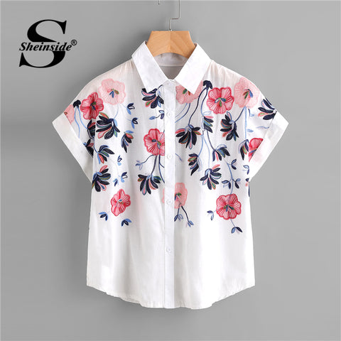 5fded28e88491 sampurchase Sheinside White Floral Embroidery Shirt Women Roll Up Sleeve  Button Top 2018 Summer Short Sleeve