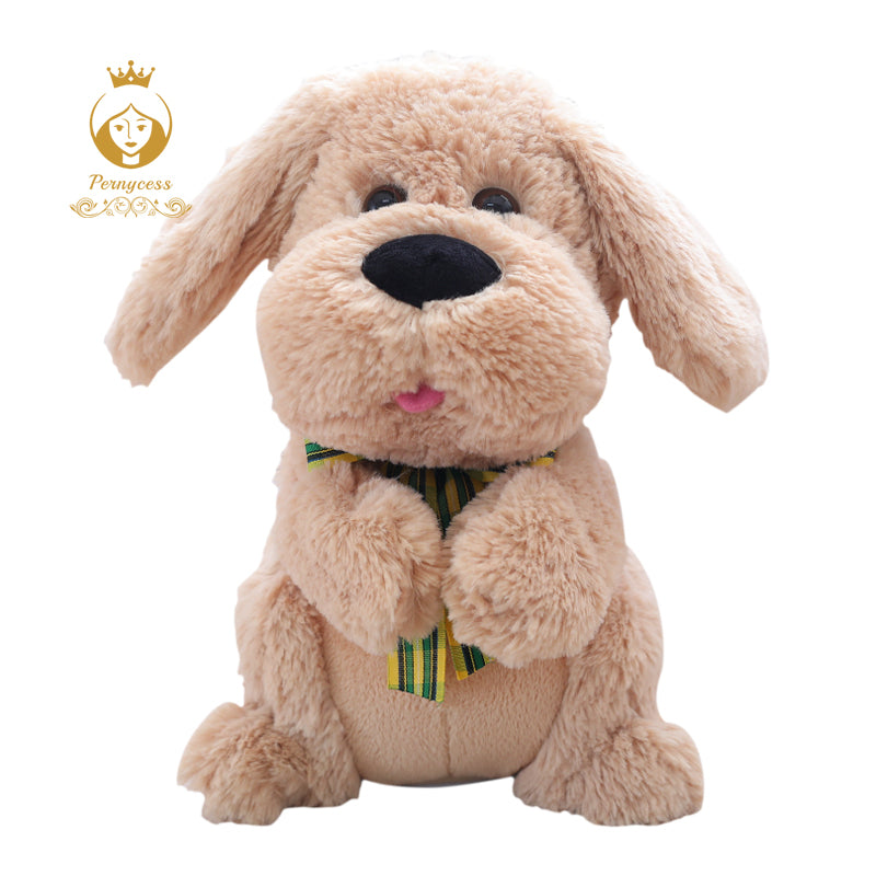 SAMPURCHASE 1PCS 28CM Electrical Peek A Boo Dog Plush Stuffed Animals Singing Baby Music Toys Ears Flaping Move Interactive Doll Kids Gifts