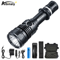 sampurchase Albinaly LED Tactical Flashlight CREE XM-L2 8000LM Powerful torch with Dual Switch and Memory Function Technology+Free gift