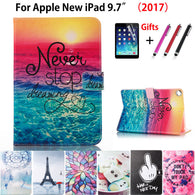sampurchase High quality Fashion painted Case Cover For Apple New iPad 9.7 2017 2018 Funda cases A1822 PU Leather Stand Shell +Stylus+film
