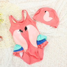 sampurchase Girls Swimwear Cute Kids Swimsuit with Swimming Cap Swan Flamingo 2018 baby girl bathing suit One Pieces Swim Wear For Children