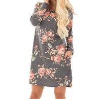 sampurchase Women Autumn Floral Printed Dress 2018 Female Long Sleeve Mini Dresses Cotton Casual Plus Size Summer Dresses GV845