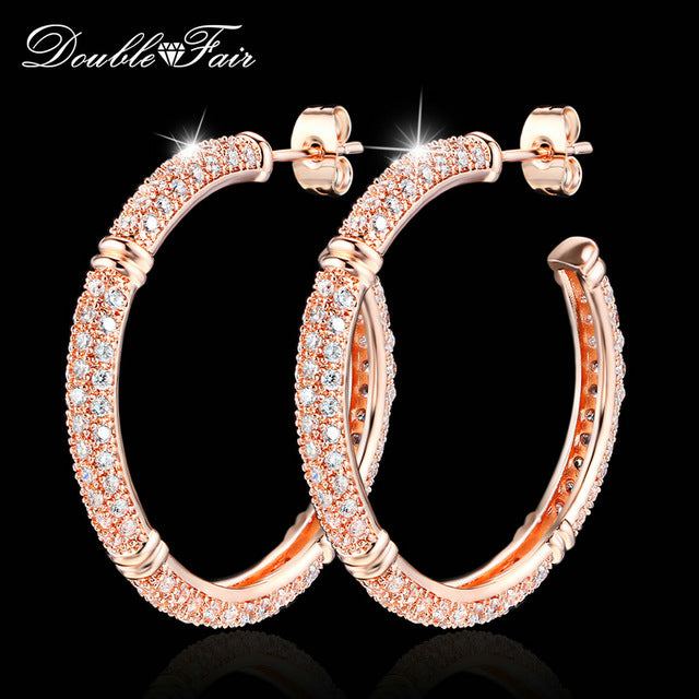 sampurchase Double Fair Brand Luxury Cubic Zirconia Big Stud Earrings Rose Gold Color Fashion Crystal Drop Jewelry For Women Brincos DFE617