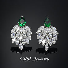 sampurchase CWWZircons 2018 Fashion Designer Brand Jewelry Noble White Cubic Zirconia Paved Long Big Green CZ Earrings For Women CZ292