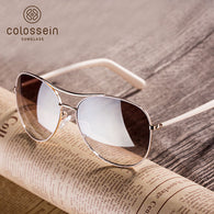 sampurchase COLOSSEIN Fashion Sunglasses Women Style Light Gold Frame Classic Fishing Females Glasses 2018 Summer For Women Outdoor Eyewear