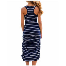 sampurchase Sexy Women Plus Size Maxi Long Dress Summer Style Ladies Beach Vest Dress Striped Boho Long Sleeveless Casual Dress M0095
