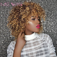 sampurchase MISS WIG 16Inches Long Afro Kinky Curly Wigs for Black Women Blonde Mixed Brown Synthetic Wigs African Hairstyle