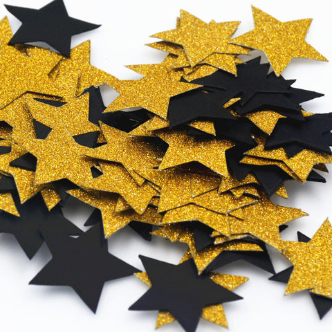 SAMPURCHASE 100Pcs/Pack Star Glitter Paper Confetti 3CM Gold Silver Black For Wedding Party Table Scatter Decor DIY Graduation Party Supplie