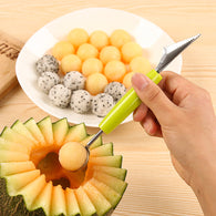 sampurchase 2in1 Dual-head Fruit Ball Carving Knife Kiwi Fruit Waterlemon Scoop Melon Digger Fruit Jar Mashed Potato Baller Ice Cream Spoon