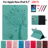 SAMPURCHASE High quality Case For Apple New iPad 9.7 2017 2018 Cases Cover A1822 A1893 Funda Tablet Cat Tree Pattern Stand Shell +Film +Pen