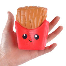 sampurchase Funny Squishy Toys French Fries/Rainbow Ice Cream Elastic PU Stress Relief Anti Stress Squeeze Toy Kids Phone Strap Decor Gifts