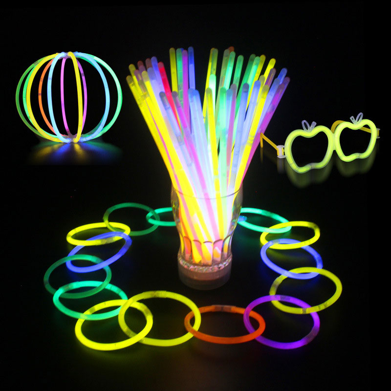 SAMPURCHASE 100pcs Multi Color Ritium Glow Sticks Dark Party Lights Bracelets