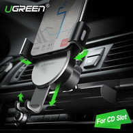 sampurchase Ugreen Gravity CD Slot Car Phone Holder for iPhone 7 Mount Holder Stand GPS Phone Holder for Samsung S8 S9 Mobile Phone Holder
