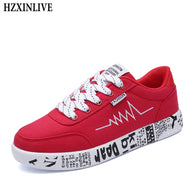 sampurchase HZXINLIVE 2018 Fashion Women Vulcanized Shoes Sneakers Ladies Lace-up Casual Shoes Breathable Walking Canvas Shoes Graffiti Flat