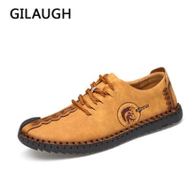 sampurchase GILAUGH 2018 Handmade Leather Shoes Casual Men Shoes Fashion Men Flats Exquisite design Non-slip Comfortable Men Casual Shoes