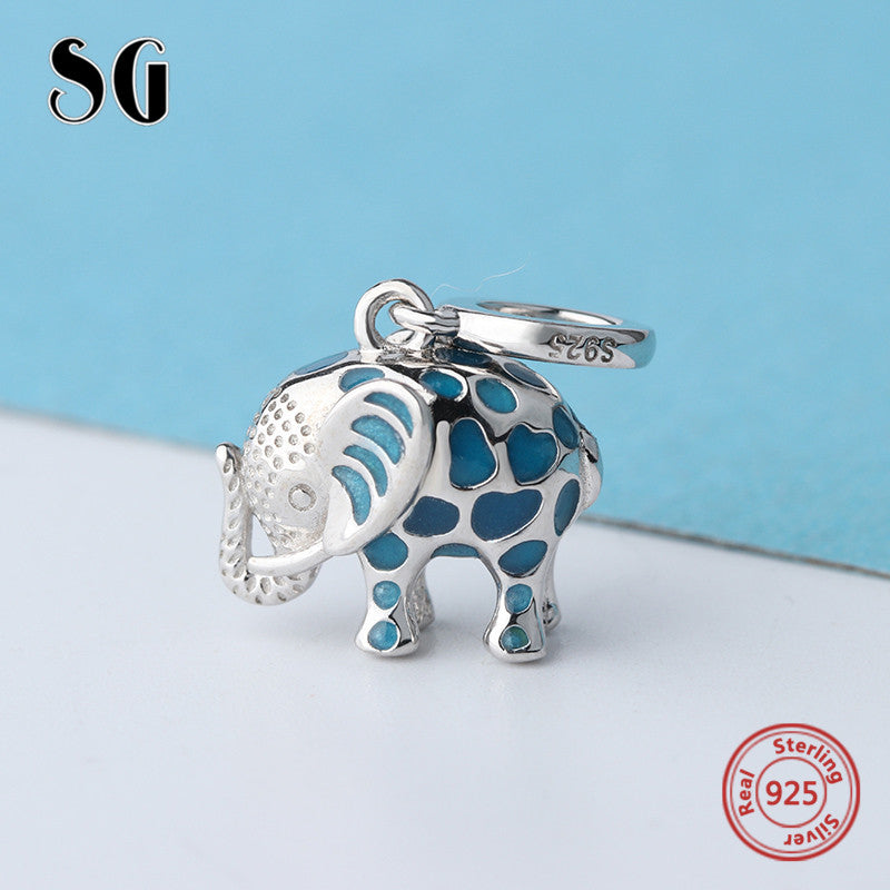 sampurchase Fit authentic pandora charms Bracelet silver 925 cute glowing elephant pendant beads with enamel diy jewelry making women Gifts