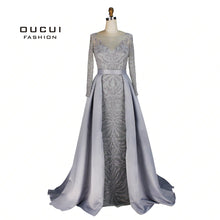 SAMPURCHASE Real Photos Long Sleeves Evening Dress Formal Handmade Crystal Ball gown Full Beaded OL103025