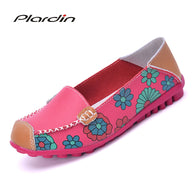 sampurchase 2018 Cow Muscle Ballet Summer Flower Print Women Genuine Leather Shoes Woman  Flat Flexible Nurse  Peas Loafer Flats Appliques