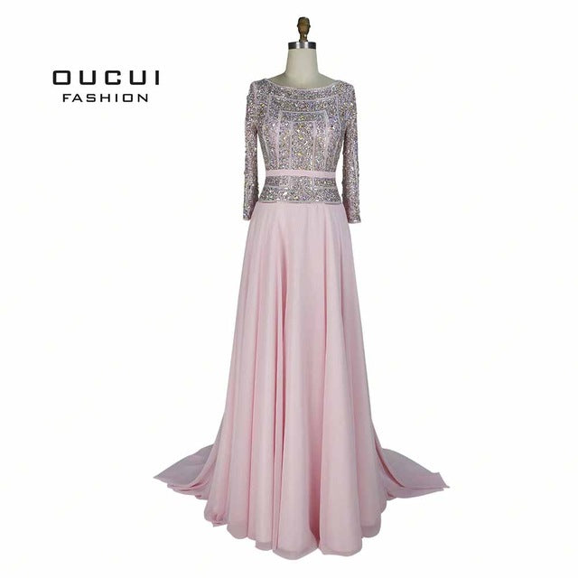 SAMPURCHASE Real Photos Prom Sashes Formal Occasion Full Sleeve Handmade Crystal Beaded Long Evening dress Chiffon OL102803B