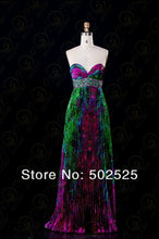 sampurchase Real Photos Printed Fabric Pleat and Beading Handwork Strapless Long Prom Dress OL101837 Free Shpping