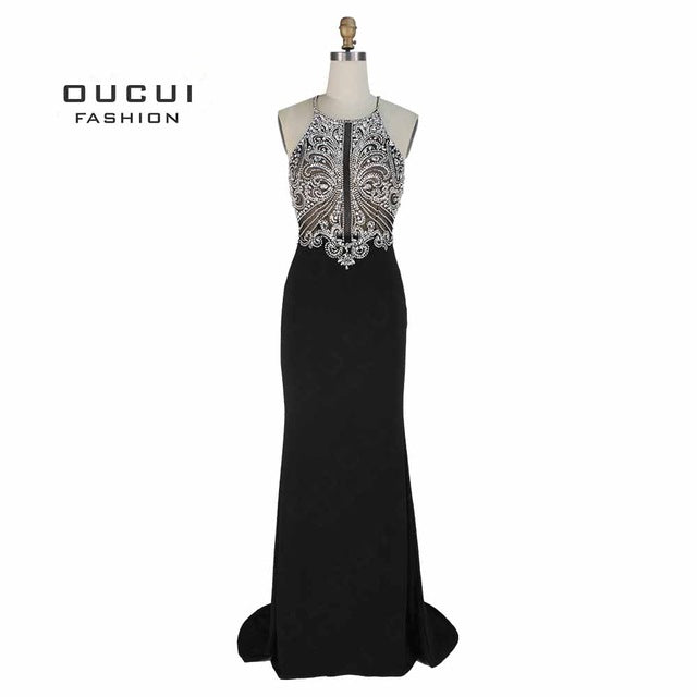 sampurchase Handmade Beading Open Front Long Evening Dress Halter Back Cross Prom Dresses Party Crystal Mermaid OL102980