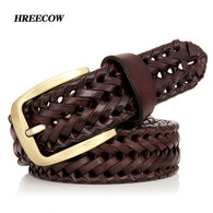 SAMPURCHASE New Braided Leather Men's Belt Hand Knitted Genuine Leather Brass Pin Buckle Casual Style Woven Tanned Cowhide