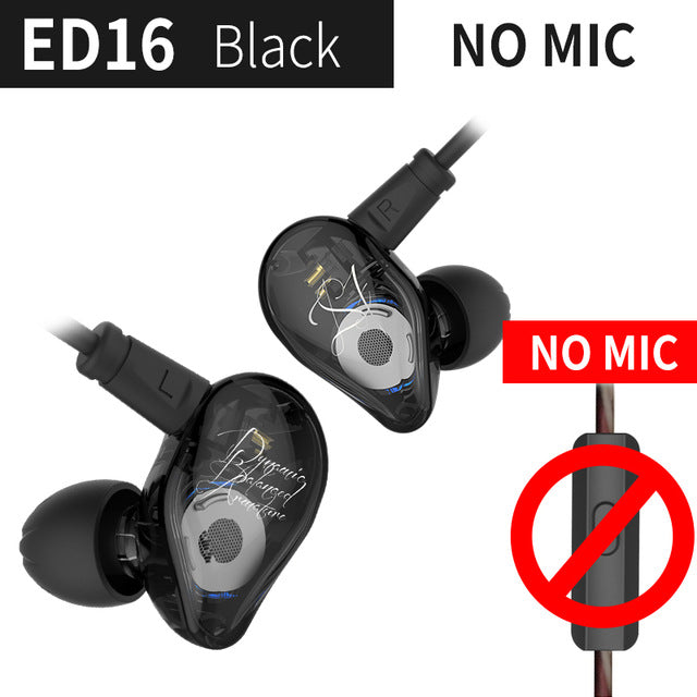 sampurchase KZ ED16 Earphone 2BA+1DD Armature &Dynamic Hybrid Headset Earphone HiFi Heavy bass Sport Earbuds With 2 pin Cable Free Shipping
