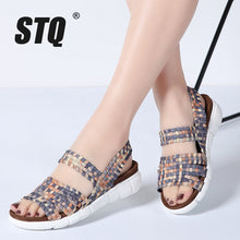 sampurchase STQ 2018 women flat sandals shoes women woven wedge sandals shoes ladies beach summer slingback sandals flipflops shoes 802