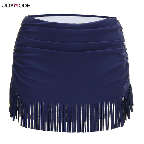 sampurchase JOYMODE Sexy swimwear fringing middle waist fold swimming trunks with skirt Breathable sports Running Beachwear