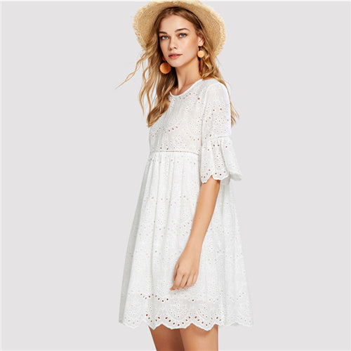 sampurchase Dotfashion White Laddering Lace Insert Eyelet Embroidered Dress Girls Round Neck Half Sleeve 2018 Summer Women Vacation Dress