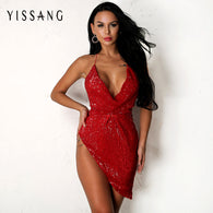 sampurchase Yissang Evening Party Sexy Mini Sequin Dress Women Summer Asymmetric V Neck Dress Robe Bodycon Women Dresses Club Female Vestido