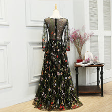sampurchase SOCCI Weekend Elegant Evening Dress Embroidery Flower Long Sleeves Black Women abendkleid Formal Wedding Party Dresses Prom Gown