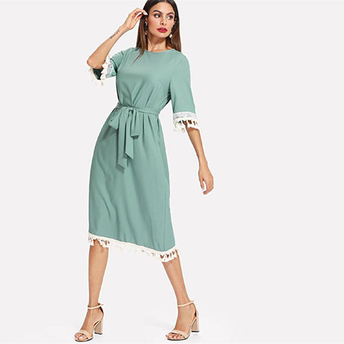sampurchase SHEIN Sequin And Tassel Detail Belted Dress Women Round Neck Half Sleeve Dress 2018 Summer Blue Casual Belted Dress