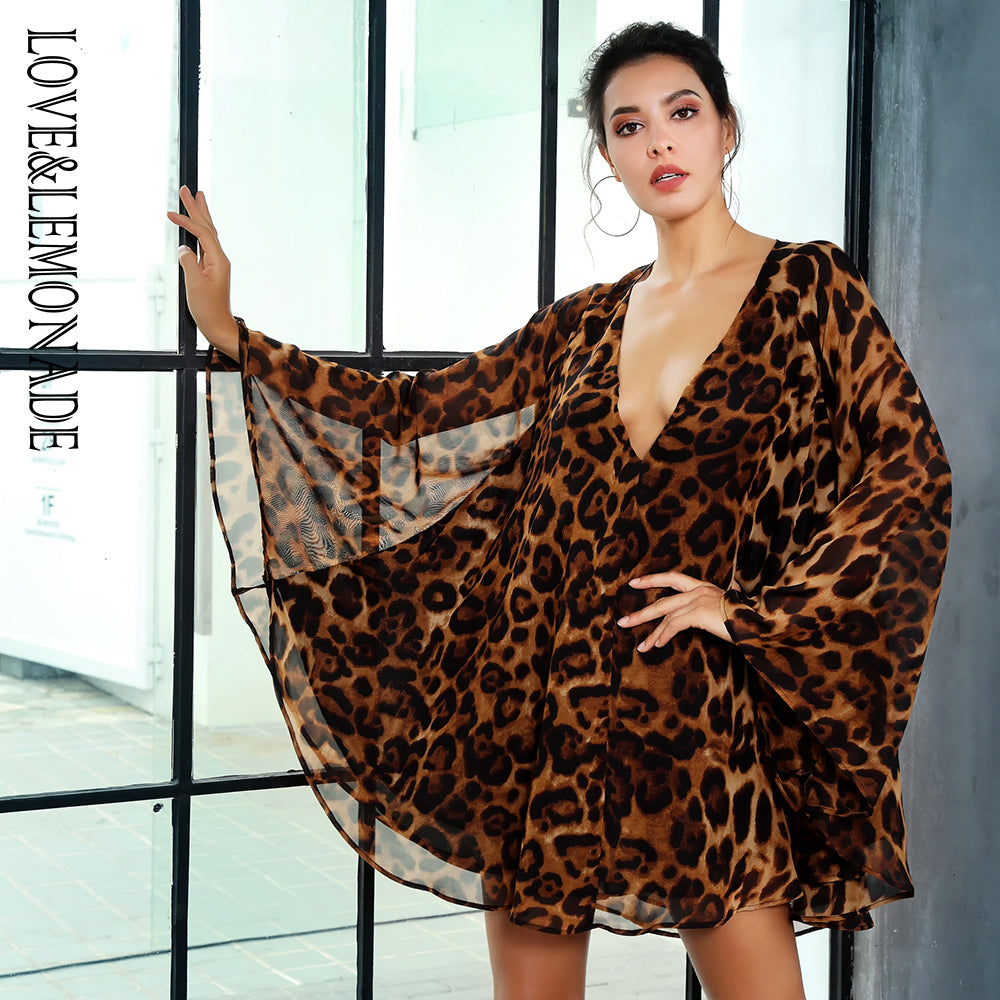 sampurchase Love&Lemonade Sexy Deep V-Neck Open Back Cloak Style Leopard Chiffon Dress LM81368