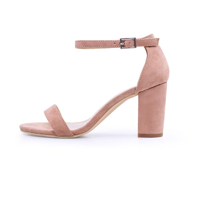 sampurchase GENSHUO 2018 Ankle Strap Heels Women Sandals Summer Shoes Women Open Toe Chunky High Heels Party Dress Sandals Big Size 42