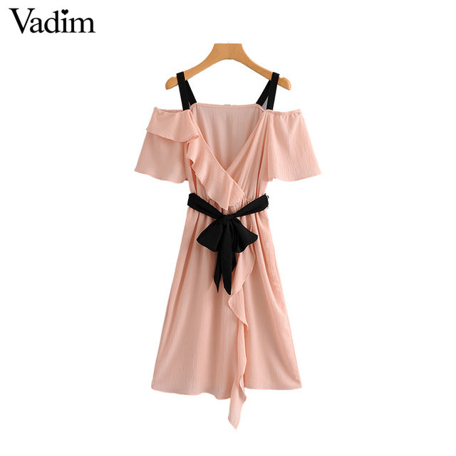 sampurchase Vadim sweet bow tie sashes ruffles pink dress sexy off shoulder short sleeve female casual knee length dresses vestidos QA246