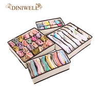 SAMPURCHASE DINIWELL 4PCS Storage Boxes For Ties Socks Shorts Bra Underwear Divider Drawer Lidded Closet Organizer Ropa Interior Organizador