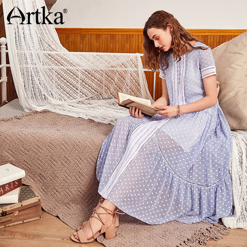 SAMPURCHASE Artka 2018 Summer New Women A-shape Big Long Swing Loose Waist Embroidery Simple Doted Hollow Stitching Dress LA11080X