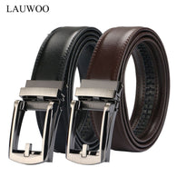 sampurchase LAUWOO Men Belt Designer Cow Genuine Leather Belts Man Automatic Buckle Cowhide Belts Luxury   Black/Brown