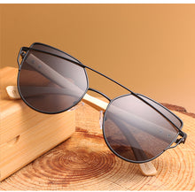 sampurchase HDCRAFTER Cat Eye Wood Bamboo Sunglasses Women Fashion Mirror Sunglasses Women Brand Designer HD Glasses