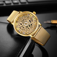 sampurchase SOXY Luxury Skeleton Watches Men Watch Fashion Gold Wrist Watch Men Steel Mesh Men's Watch