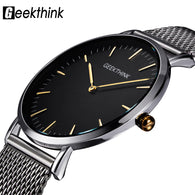 SAMPURCHASE GEEKTHINK Top Luxury Brand Quartz watch men Casual Japan quartz-watch stainless steel Mesh strap ultra thin clock