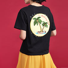 sampurchase Toyouth 2018 Summer Cotton T Shirt Women Round Neck Coconut Tree Print Tops Letter Embroidery Loose Short Sleeve Tee Shirt Femme