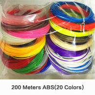 sampurchase 3D Printer Filament Scribble Pen 3D ABS 200 Meters 20 Colors 3D Printer ABS Plastic Threads Wire 1.75mm Filament ABS 3D Printer
